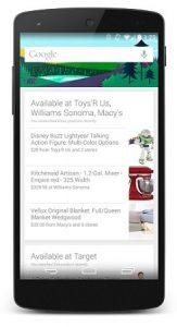 Google Now recibe tarjetas de Shopping con alertas de la tienda