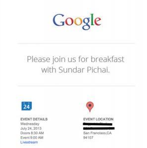 """Google invita a """"desayunar con Sundar Pichai"""";  Puede lanzar Android v4.3 y Nexus 7"""