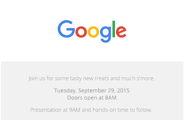 Invitación al evento del 29 de septiembre de 2015 de Google