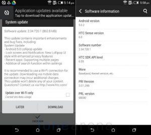 HTC Desire 816 comienza a recibir la actualización de Android Lollipop en India