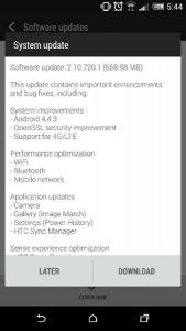 HTC One (M8) recibe la actualización de Android v4.4.3 en India;  Obtiene soporte 4G LTE