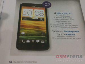 HTC One X + con procesador de cuatro núcleos a 1,7 GHz se dirige al O2 del Reino Unido, muy pronto