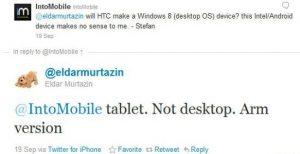 HTC utilizará la CPU ARM para sus tabletas con Windows 8