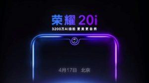 Honor 20i confirmado para lanzarse oficialmente el 17 de abril en China