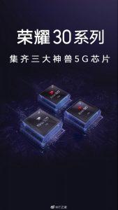 Honor 30 y 30 Pro vienen con chipsets Kirin 985 y Kirin 990