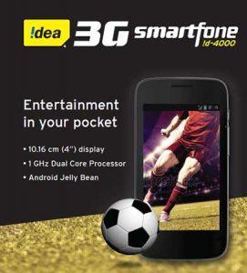 Idea! D 4000 3G teléfono inteligente Android lanzado para Rs.  4999