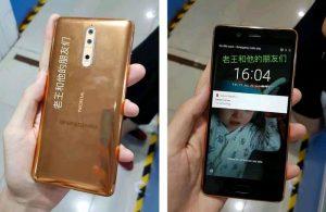Imágenes de la superficie del Nokia 8 de color dorado y cobre en línea