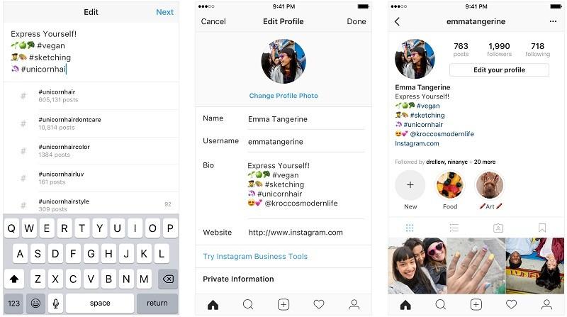 Instagram-hashtag-perfil-enlace-biografía