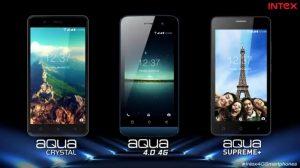 Intex Aqua 4.0 4G, Aqua Crystal y Aqua Supreme + lanzados en India con soporte 4G VoLTE