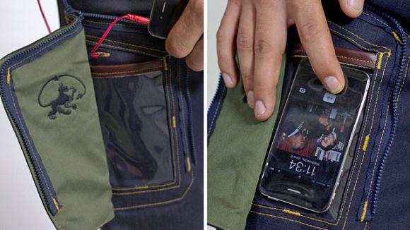 Jeans con bolsillo transparente para usar tu móvil desde el bolsillo