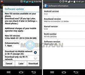 La actualización de Android 4.4 KitKat ya está disponible para LG G2 en India