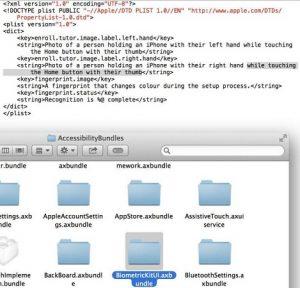 La actualización de iOS 7 muestra el código para el escáner de huellas dactilares