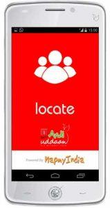 La aplicación MapmyIndia Locate utilizada para alimentar la función SOS de iBall Andi Uddaan