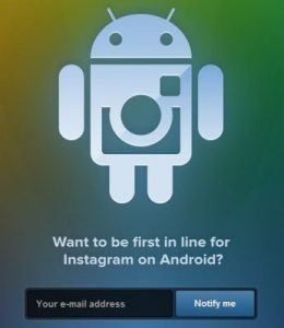 La página de registro de Instagram para Android se activa