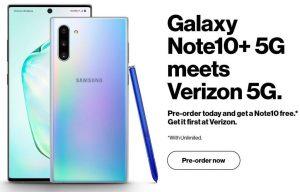 La prensa Samsung Galaxy Note 10+ 5G muestra la superficie en línea mostrando su diseño