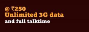 La recarga Tata DOCOMO Rs.250 ofrece datos 3G ilimitados, no realmente