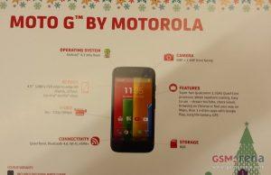 La tarjeta de promoción Moto G revela las especificaciones;  A un precio de $ 215 sin contrato