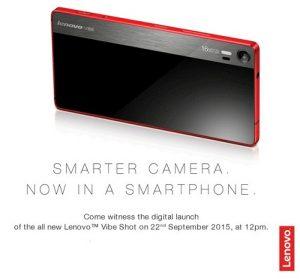 Lanzamiento de Lenovo Vibe Shot con cámara inteligente de 16 MP en India el 22 de septiembre