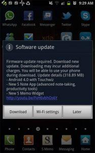 Lanzamiento de la actualización ICS de Android 4.0 para Samsung Galaxy Note