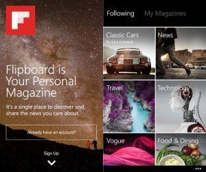 Lanzamiento de la aplicación Flipboard para Windows Phone