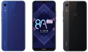 Lanzamiento del Honor 8A Pro;  cuenta con MediaTek Helio P35 SoC, 3 GB de RAM y 64 GB de almacenamiento
