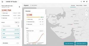 Lanzamiento del rastreador Bing COVID-19;  viene con una herramienta de autoevaluación y soporte en el idioma local