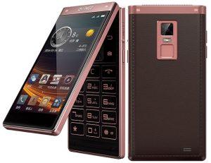Lanzamiento del teléfono plegable Gionee W909 Android con pantalla dual y escáner de huellas dactilares