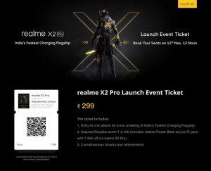 Las entradas para el evento de lanzamiento de Realme X2 Pro saldrán a la venta mañana por ₹ 299
