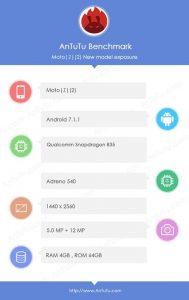 Las especificaciones de Moto Z2 se filtraron en AnTuTu, Snapdragon 835 SoC y 4 GB de RAM a cuestas