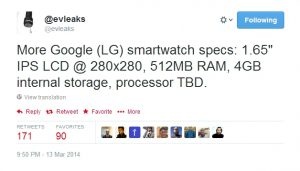 Las especificaciones del LG hicieron que el reloj inteligente de Google se filtrara