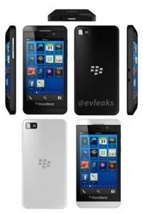 Las representaciones del teléfono inteligente BlackBerry Z10 aparecen en línea en las opciones de Blanco y negro