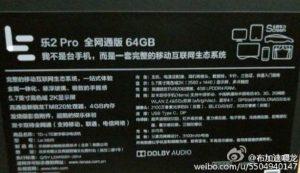 LeEco Le 2 Pro con pantalla Quad HD de 5.7 pulgadas y superficies de procesador Snapdragon 820