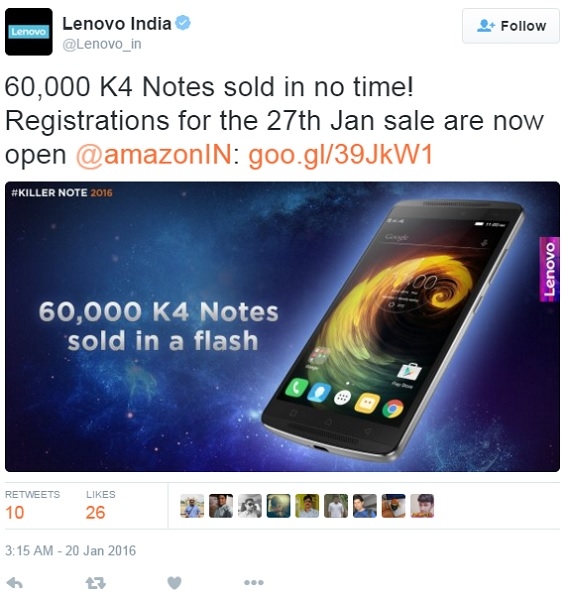 lenovo-k4-note-60-k-unit-sold-tweet
