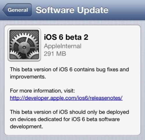 Los desarrolladores ahora pueden tener en sus manos iOS 6 Beta 2