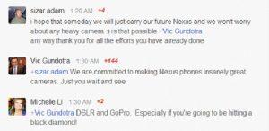 """Los teléfonos Nexus deben tener """"cámaras increíblemente geniales"""""""