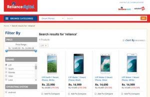 Los teléfonos inteligentes LYF de Reliance Jio figuran en la tienda en línea de Reliance Digital antes del lanzamiento
