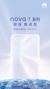 Los teléfonos inteligentes de la serie Huawei Nova 7 se lanzarán el 23 de abril en China
