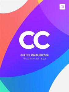 Los teléfonos inteligentes de la serie Mi CC de Xiaomi se lanzarán el 2 de julio