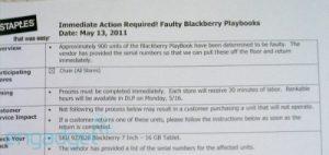 Más de 900 Blackberry PlayBooks re-llamados por RIM