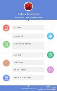 Meizu M5 Note con superficies del chipset Helio P10 en los puntos de referencia