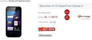 Micromax A110 Superfone Canvas 2 ahora disponible en línea, con un precio de Rs.11,490