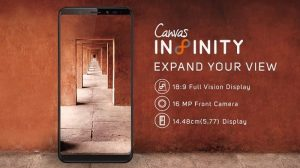 Micromax Canvas Infinity Pantalla Full Vision de 5.7 pulgadas, cámara frontal de 16 MP y Android Nougat lanzado en India por ₹ 9999