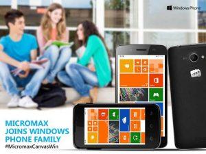 Micromax presenta los teléfonos inteligentes Micromax Canvas Win basados en Windows Phone 8.1