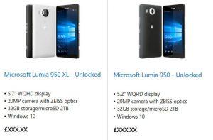 Microsoft Lumia 950 y Lumia 950 XL listados en la tienda oficial en el Reino Unido