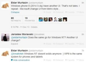 Microsoft puede eliminar la interfaz de usuario de Metro en Windows Phone 9;  Puede fusionar Windows RT
