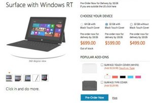 Microsoft revela el precio de sus tabletas Surface, comienza en $ 499 en EE. UU.