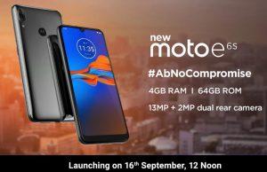 Moto E6s con 4 GB de RAM, 64 GB de almacenamiento y cámaras traseras duales que se lanzarán en India el 16 de septiembre