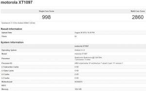 Moto X + 1 visto en los puntos de referencia;  Hace alarde de una CPU Snapdragon 801