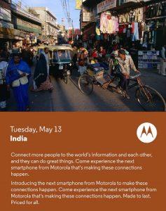 Motorola podría lanzar el Moto E en India el 13 de mayo