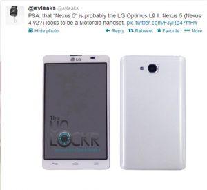 Motorola puede producir Nexus 5 como Nexus 4 v2;  LG Optimus L9 II filtrado